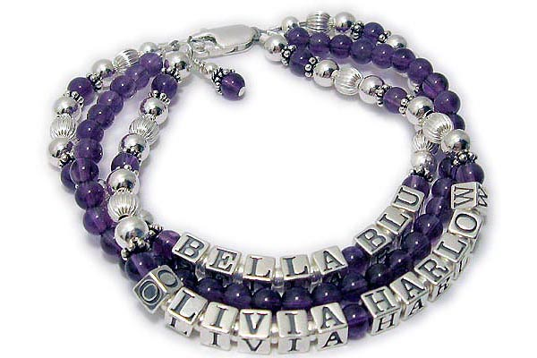 DBL-Gem-Ame1-3string  This is a 3 string bracelet. The middle string is just Amethyst gemstones. To order a bracelet like this one please enter Bella Blu and choose the gemstones for the 1st string. Enter NONE in the blank for the 2nd string and choose your gemstones. Then enter OLIVIA HARLOW in the third name blank and pick the gemstones.
