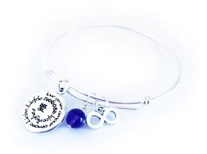 Love in Many languages Bangle Bracelet with Amethyst Gemstone Charm and an Inifity Charm.