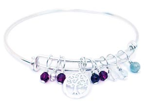 Tree of Life Charm Birthstone Bangle Bracelet