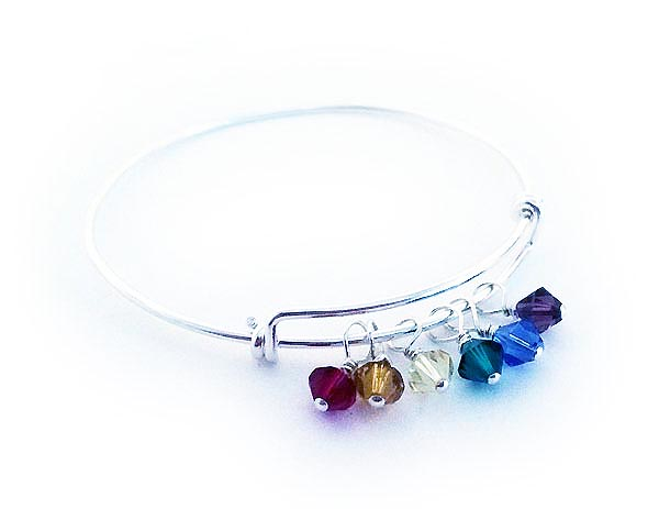 Birthstone Bangle Bracelet with 6 birthstone charms
