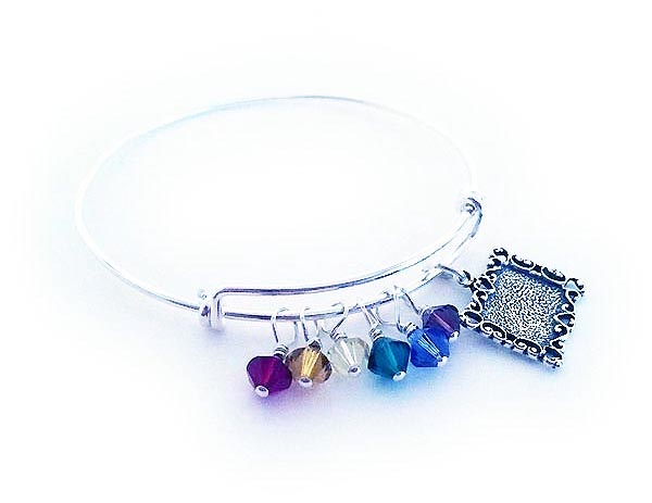 Birthstone picture frame brangle bracelet
