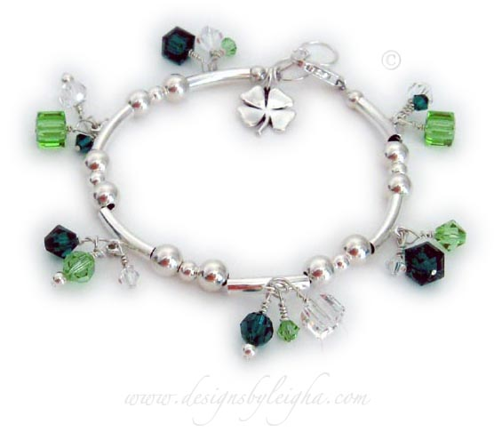 Shamrock Bracelet with Shamrock charm and green crystals
