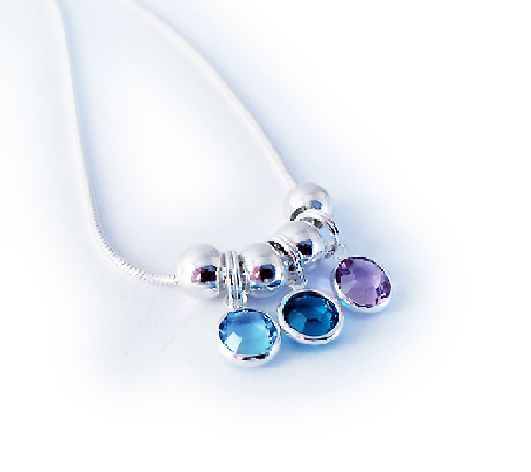 Birthstone Charm Necklace for Mom or Grandma for Mother's Day
