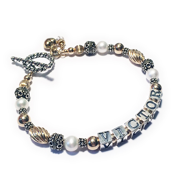 DBL-PS1-Gold1string VICTOR bracelet with 2 add-ons; Birthstone Crystal Dangle (April) and a Puffed Heart Charm