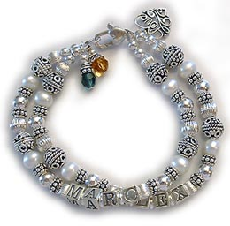 Pearl and Sterling Silver Mothers Bracelet with Birthstone Crystal Dangles