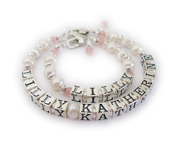 bracelet name pearl girl little bracelets