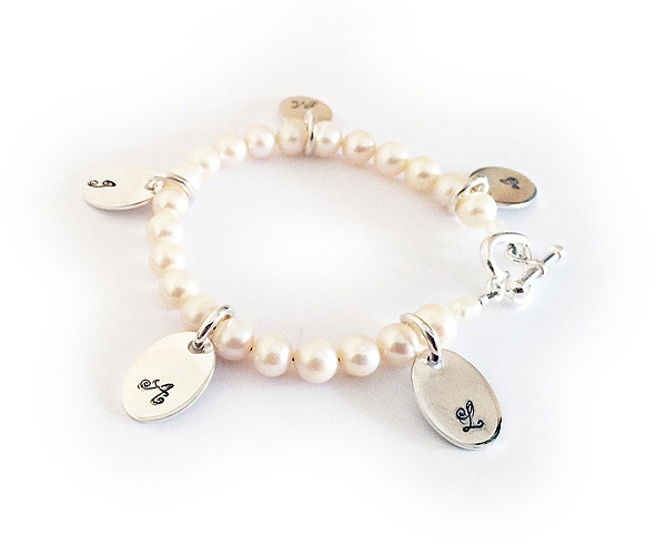 Pearl Initial Charm Bracelets