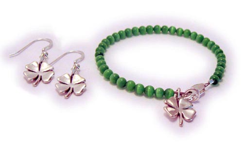 4 Leaf Clover Bracelet and Earrings - Shamrock
