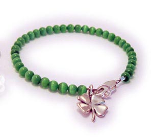 Shamrock Charm Bracelet 4 Leaf Clover Irish Bracelets