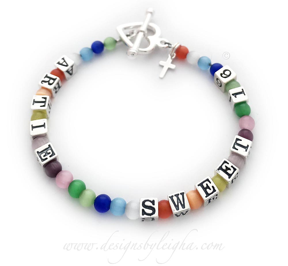 DBL-Message-Bracelet-12  Enter: ARTIE SWEET 16  They upgraded the clasp to a Heart Toggle clasp and added a Tiny Cross charm.