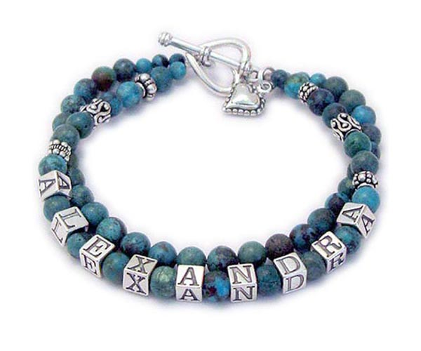 This is a 2-string Turquoise Name Bracelet for a mom or grandma with ALEXANDRA on one string and a blank string with just Turquoise beads. They added a Beaded Heart charm and upgraded from one of my beautiful free clasps to a Heart Toggle clasp.