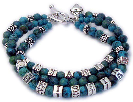 This is a 3-string Turquoise Name Bracelet for a mommy or grandmommy with Alexandra on one string and a blank string with just Turquoise beads and Christian on the third string. They added a Beaded Heart charm and upgraded from one of my beautiful free clasps to a Heart Toggle clasp.