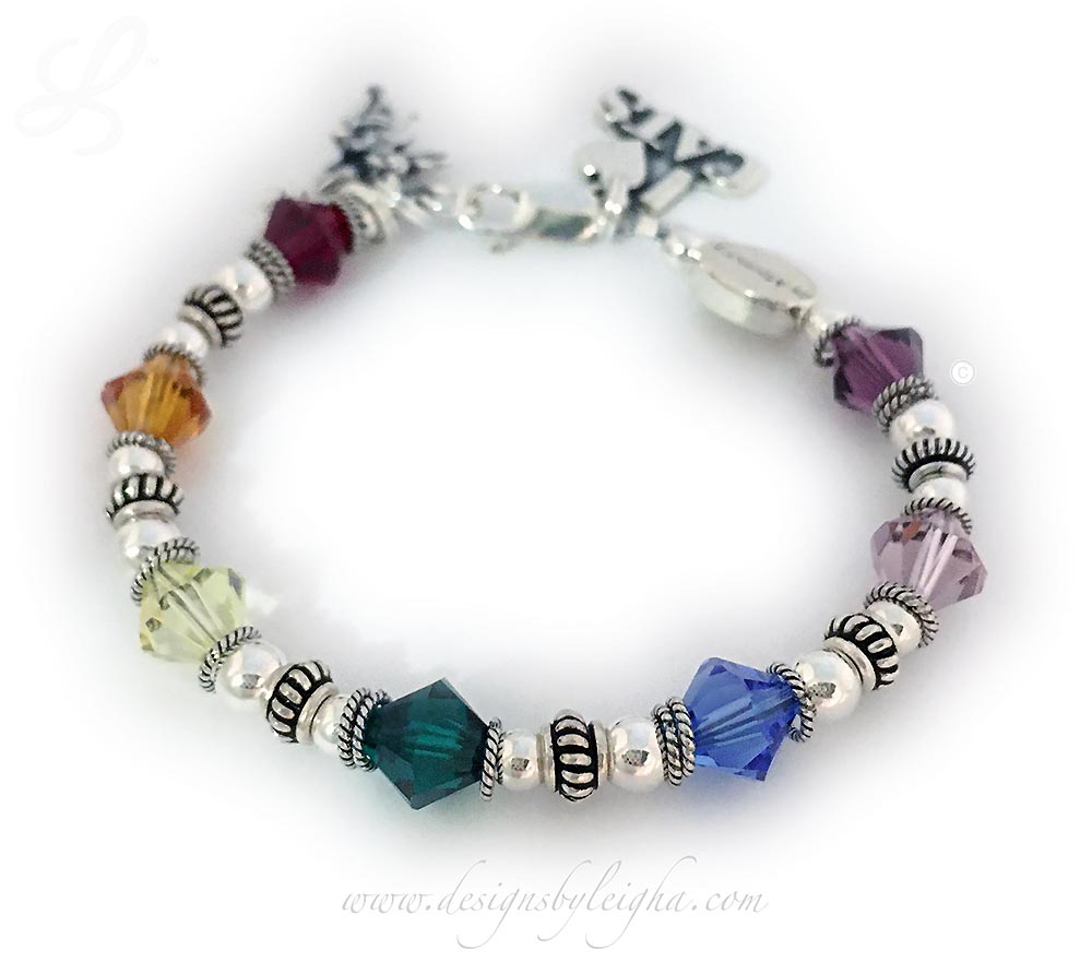 "This Designs By Leigha Rainbow Bridge Bracelet #1 is shown with 2 add-on charms: I (Heart) Cats Charm and an Angel with Wings Charm. It is a size 6 3/4"" which is extra small. The In-Memory Bead is included."