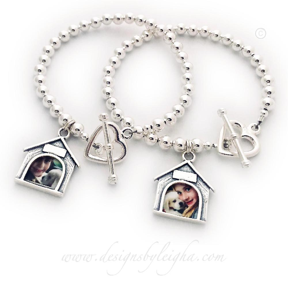Dog House picture frame Charm bracelets with a Heart toggle Clasp