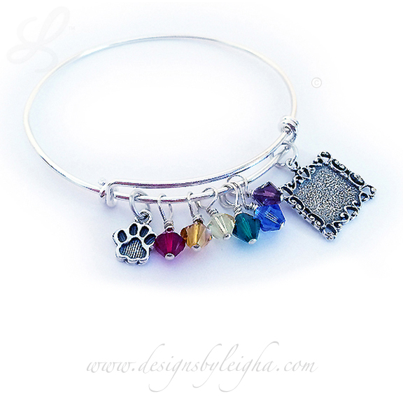 Rainbow Bridge Bangle Bracelet with Paw Print Charm, Picture Frame Charm and Rainbow Charms
