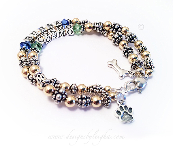 Bubba & Cosmo bracelet shown with options: a DOG BONE and PAW PRINT charms with a Heart Lobster Claw Clasp