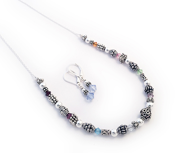 "DBL-BB9-Necklace 8 Birthstones - 7"" of beads on any length necklace chain."
