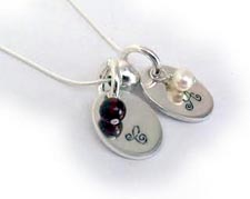 Hand Stamped Necklace - KIDS Initials and Real Gemstones
