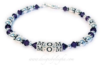 MOM/Purple Shown MOM and Purple or February Birthstone Crystals and with a lobster claw clasp.