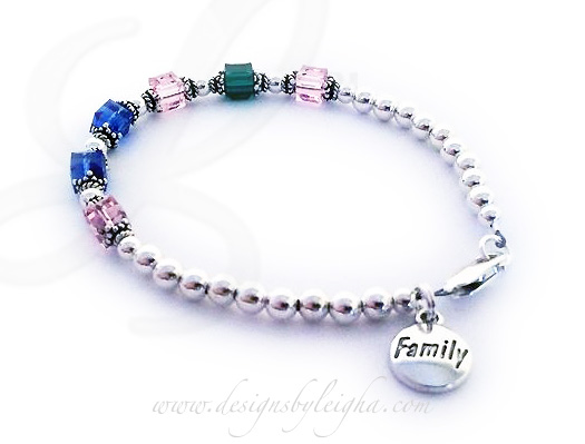 DBL-BB1-1	String Bracelet  Enter: Oct, May, Oct, Sep, Sep, Oct Shown with a lobster claw clasp and a free FAMILY charm.