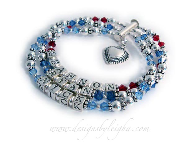 SHANNON/Jul - RYAN/Sep - NICK/Dec They added a Beaded Heart Charm to this birthstone bracelet (Ruby, Sapphire and Blue Topaz crystals).