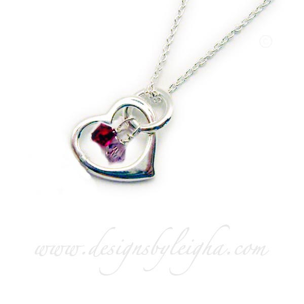 Sterling Silver Heart Birthstone Necklace with 2 Birthstone Crystals: July or Ruby and June or Opal