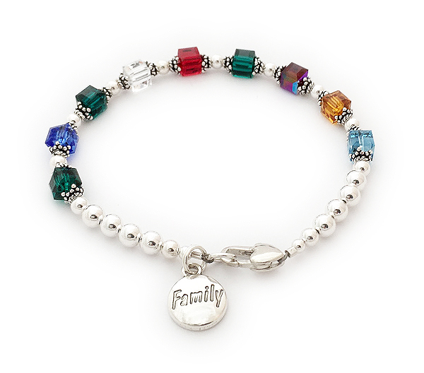 Birthstone Bracelet with 9  birthstone crystals