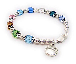 Family Charm Bracelet with Birthstone Crystals