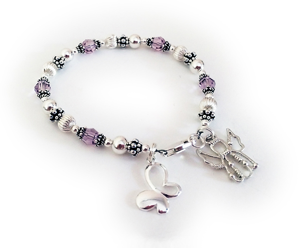 June Birthstone Bracelet with a Butterfly and Angle Charm