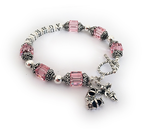Aubrie Birthstone Bracelet - October Birthstone Bracelet with Angel and Girl Bootie Charms