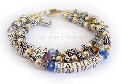 5 name 3 string mothers gold birthstone bracelet