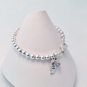 Bff sterling silver bracelet with lobster clasp and 2 birthstone crystal dangle charms for the birthstones of the best friends