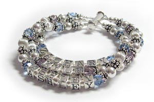 3 string 3 name crystal bracelet
