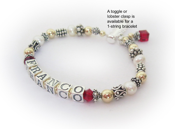 Franco Mother Bracelet with July Birthstone Crystals