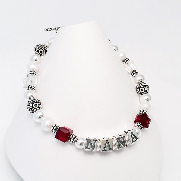 Nana Bracelet with 2 birthstone for her grandkids... July and April - Ruby and Diamond