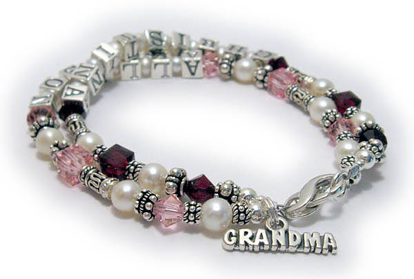 Grandma Birthstone Bracelet With Grandkids Crystals And Names A Charm