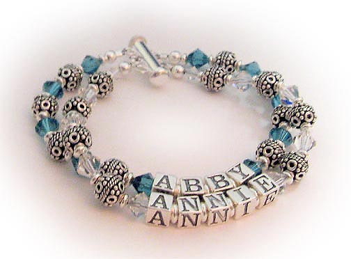 December & April Birtshtone Bracelet using Swarovski crystal beads
