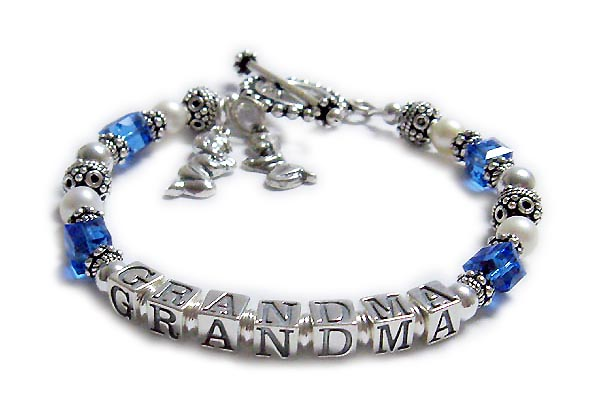 September Birthstone Bracelet with GRANDMA and Praying Boy and Praying Girl charms