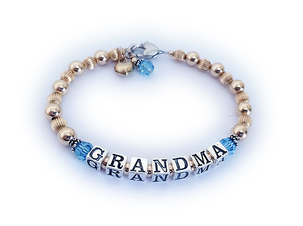 Gold Grandma Birthstone Bracelet with a heart and birthstone dangle.