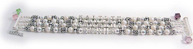 4 string pearl Name Bracelet with birthstone crystals