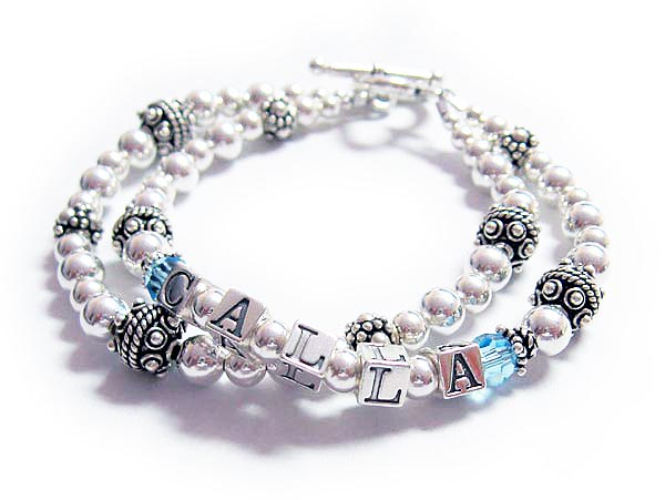 2 string mother bracelet with 1 name and birhtstone crystals and CALLA March or Aquamarine