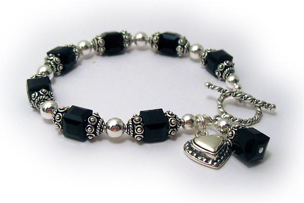 Black Swarovski Crystal Bracelet with Heart Charm