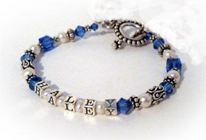 Haley Pearl & Birthstone Crystal Mother Bracelet