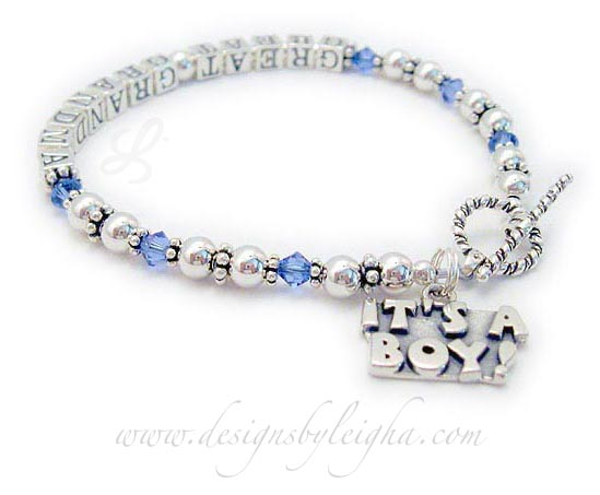 Great Grandma Bracelet with Birthstone Crystals with It's a Boy or It's a Girl Charm - Pregnancy Announcements