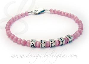 Cat's Eye Mothers Bracelet with ALLIE and Pink Cat's Eye Beads