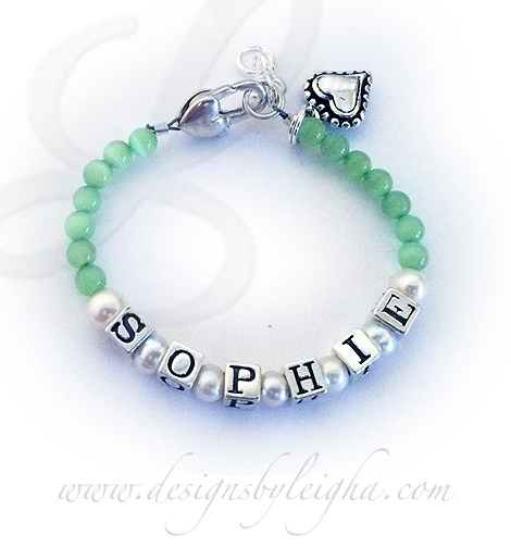 DBL-Cat'sEye-1  Enter: SOPHIE/Pearls/Light Green This SOHPIE bracelet is shown with my light green Cat's Eye Beads and they upgraded the clasp to a Heart Lobster clasp. An extension comes standard on this design. They also added a Beaded Heart charm.