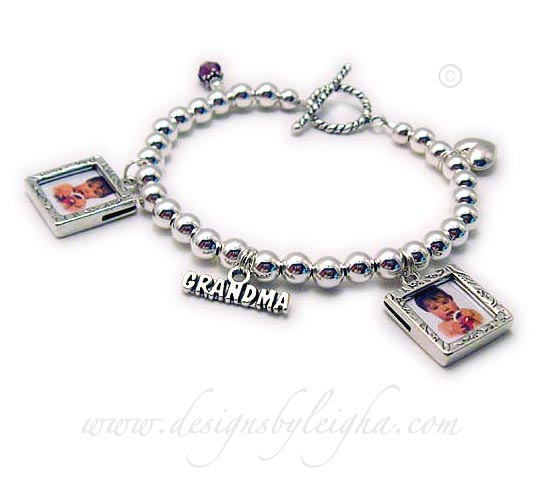 Grandma Charm Bracelet shown with 2 picture frame charms, Grandma charm, Puffed Heart charm, February Birthstone Crystal Dangle and a free Twisted Toggle clasp.