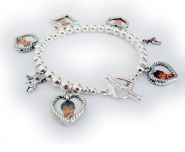 Picture frame charm bracelet with 5 photo charms that hold 10 pictures