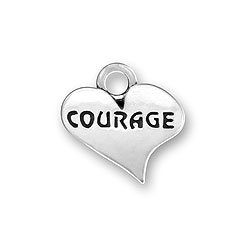 Sterling Silver Courage in a Heart Charm