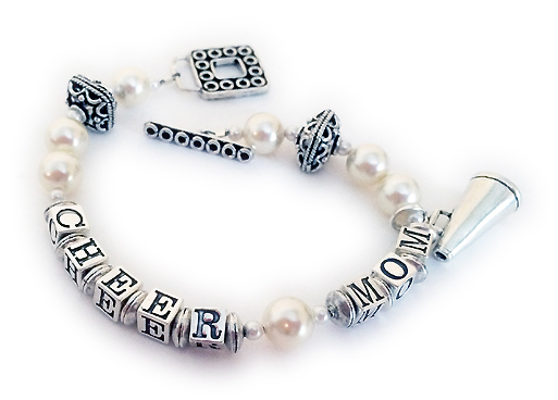 CHEER MOM Bracelet with a Megaphone Charm